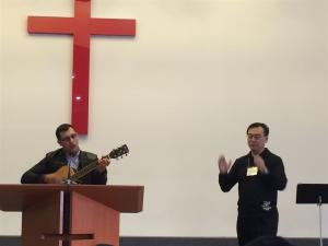 Serbian Roma and Chinese leading worship. Budapest, Hungary. September 2015