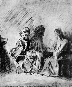 Nicodemus with Jesus in the Night: Rembrandt