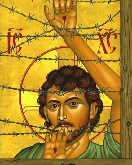 jesus icon barbed wire refugee